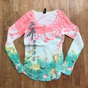 Vintage Lucky Brand Oriental Print Thermal Henley